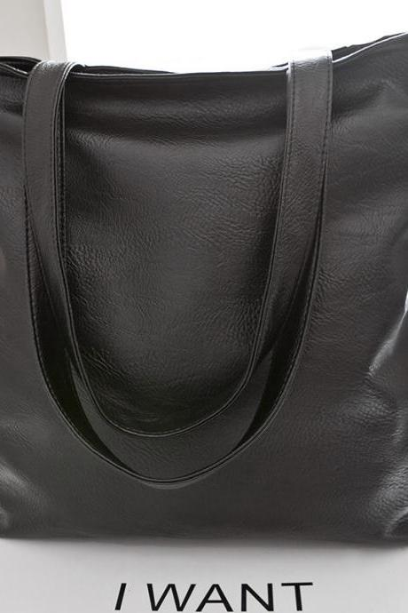 PU Leather Tote Bag with Large Capacity