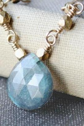 minimal jewelry labradorite necklace gemstone necklace 14k gold filled blue spring fashion