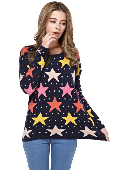 Women's Full Stars Pattern Round Neck Sweater