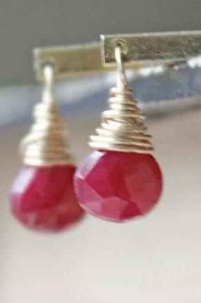 ruby earrings red gemstone 14k vintage brass july birthstone modern minimalist