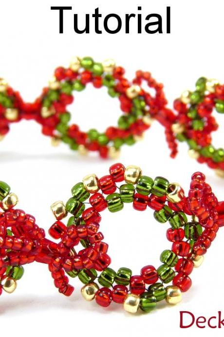 Beading Tutorial Pattern Bracelet - Christmas Holiday Jewelry - Simple Bead Patterns - Deck the Halls Bracelet #10504
