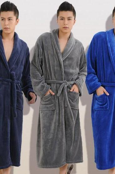 Fashion Men Coral Fleece Belted Sleep Robe Sleepwear Nightwear Cotton Dressing Gown Robe