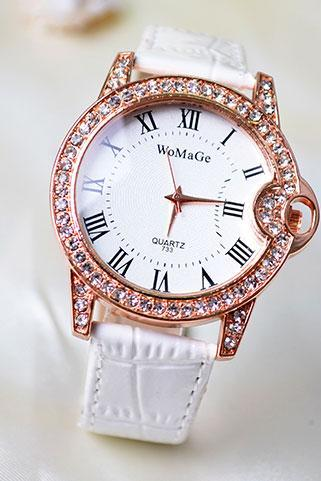 Diamond-studded Student Leather Watch