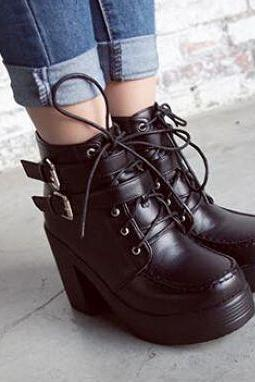 Chunky Heel Black Lace Up Boots