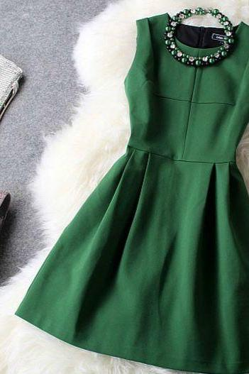Deep Green Beaded Evening Dress