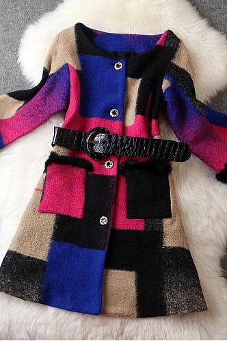 Fashion Plaid Coat Woolen Coat
