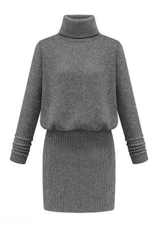 Knitted Turtleneck Long Sleeves Short Sweater Dress Featuring Elasticised Waist