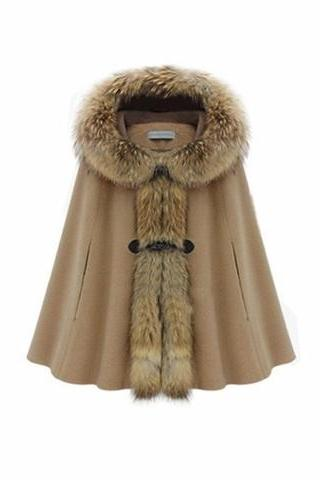 Hooded Faux Fur Collar Warm Women Cloak Cape Winter Coat Camel