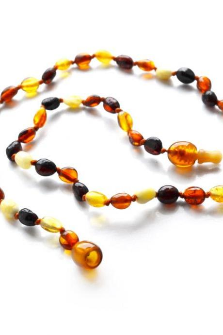 Teething necklace with safety pop up new clasp. Multicolor teething amber necklaces for babies. Babies jewelry. 4339