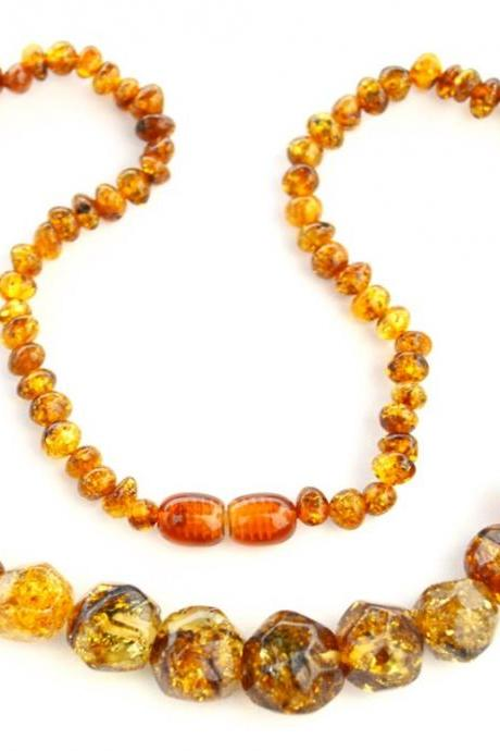 Green amber necklace, Baltic amber, summer green beads, Polished amber, cute necklace, gift for woman, 1678