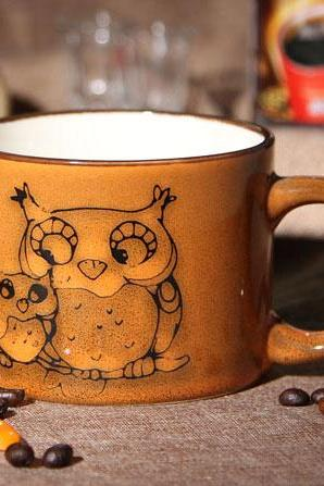Hand-painted Ceramic Owl Mug/Coffee Cup