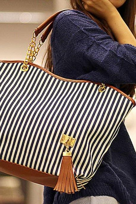 Navy Blue and White Stripes Canvas Tote Bag with Leather and Chain Double Handles