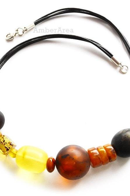 Amber necklace with leather, leather necklace, Baltic amber beads, natural amber, unique necklace, (leather_6)