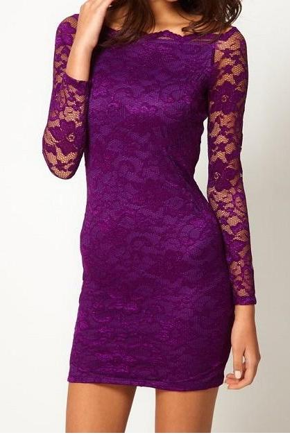 Fashion Lace Long-sleeved Dress - Purple