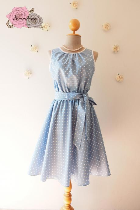 Baby Blue Dress Polka Dot Swing Dress Vintage Retro 50's Inspired Tea Dress Blue Bridesmaid Dress Party Dress Dancing Dress -XS-XL
