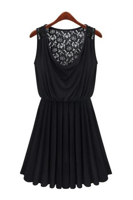 Black Dress With Floral Lace Back 062426