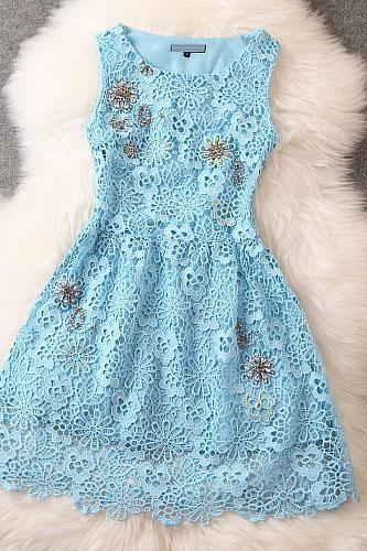 Fashion Crochet Handmade Beading Party Dress &Dress