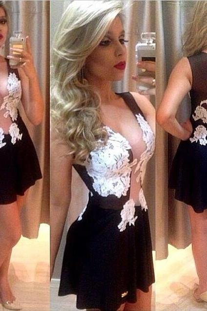 Cheap Sexy V Neck Tank Sleeveless Lace-Mesh Patchwork Black Mini Dress