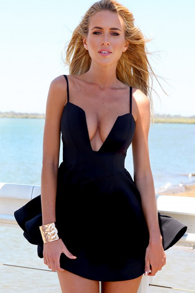 Cheap Sexy V Neck Spaghetti Strap Sleeveless Black A Line Mini Dress