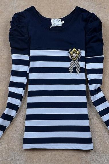 Sweet striped long-sleeved T-shirt AX111802ax