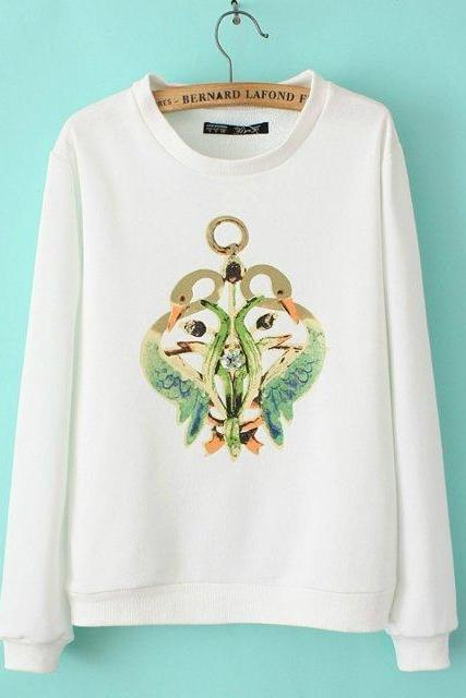 Fashionable joker personality swan printed cotton T-shirt