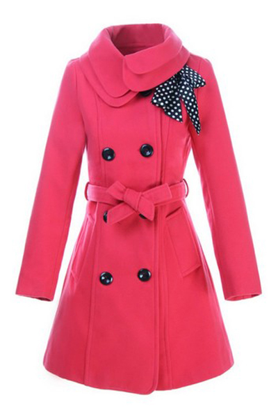 Cheap Casual Turndown Collar Long Sleeves Double-breasted Bow-tie Decorated Melon Red Long Wool Coat
