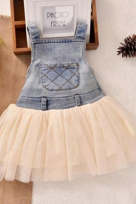 Ivory Jumper for Newborn Infant Girls Ivory Tutu Dresses Denim Little Cowgirls Outfit