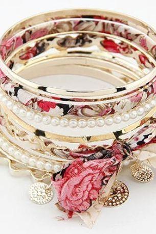 Red Lace Multilayer Bracelets RED Floral Bracelets