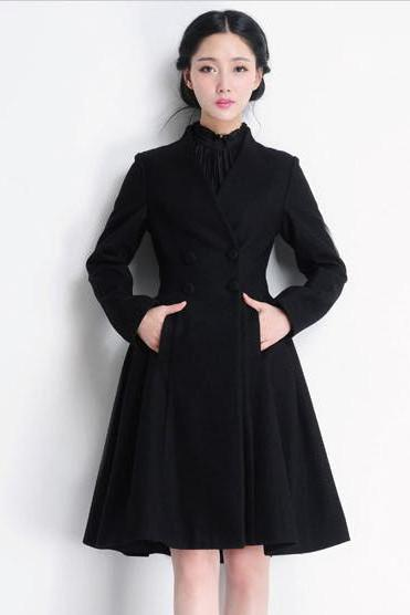 Double Breasted Long Swing Black Coat Dress Wool Coat Jacket Winter Outerwear