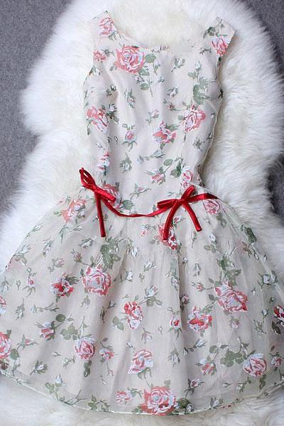 Sweet Flower Print Organza Dress