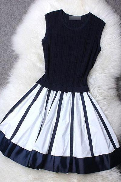 Vintage Black And White Stripe Dress