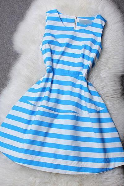 Cool Blue And Pink Strip Sleeveless Dress