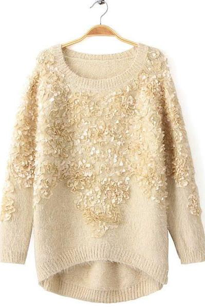 Fashion Cream Decorative Flower Sweater