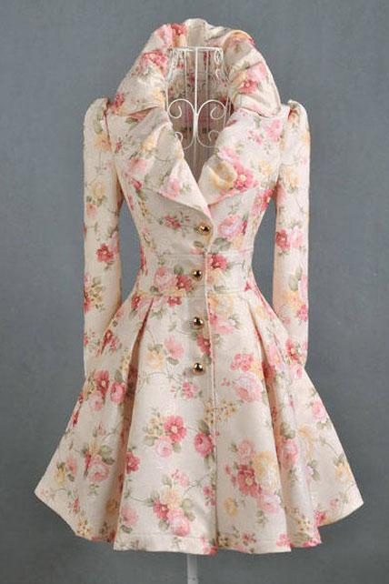 Exquisite Floral Print Puff Sleeve Pleated Trench Coats