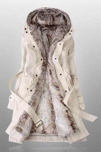 Winter Coats For Women With Faux Fur Lining In Beige