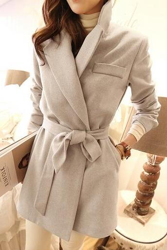 Classy Apricot Winter Coat With Belt