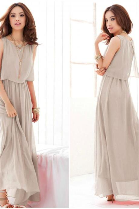 Light Grey Sleeveless Chiffon Dress
