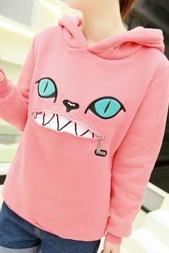 Hooded Zippered Cat Fleece Sweatshirt Sweater. Five Colors Available