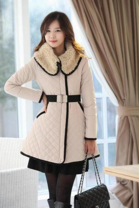 Winter New Women Coat Slim Ovo Collar Lapel Quilted Long Section Long Sleeve Thicken Warm Women Trench Coats Belt S/M/L/XL/