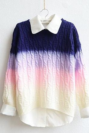 Fashion gradient color pullover sweater AA1119BI