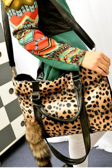 New Fashion Fox Tail Leopard Printed Handbag&Shoulder Bag