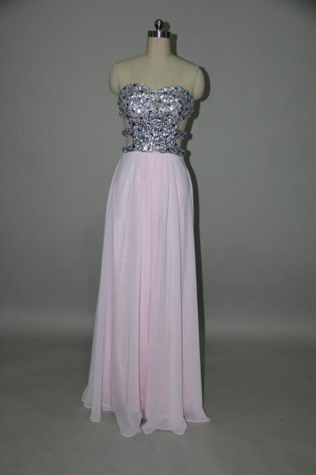 Gorgeous Light Pink Floor Length Backless Prom Dress with Rhinestones, Long Prom Dresses, Handmade Prom Dresses