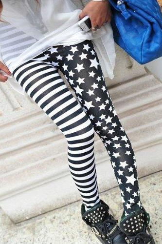 HOT!Fashion New Stripes Stars Splicing Leggings Tights Legwear Pants Cool Design