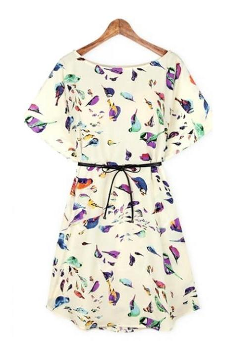 Full Birds Printed With Bowtie Belt 062415