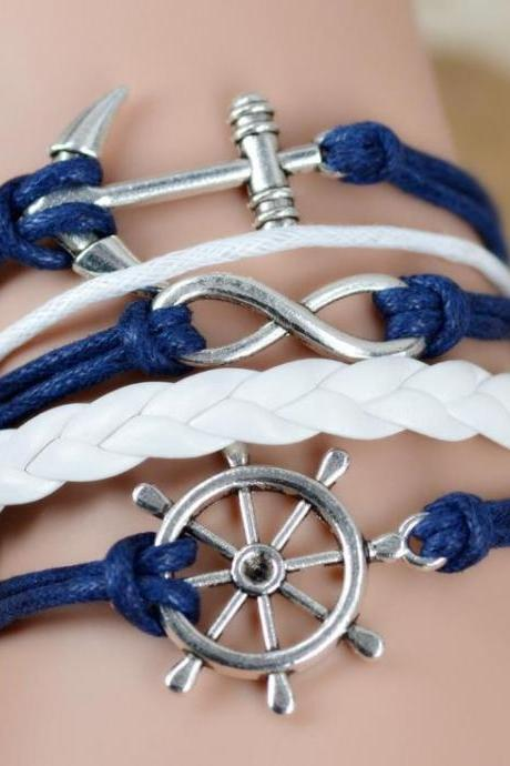 Boat trip white-blue girl bracelet