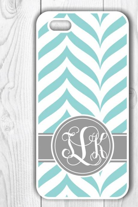 Personalized Teal and Gray Custom Case - Monogrammed Iphone case- Samsung Galaxy case