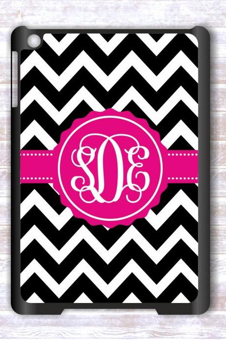 Personalized Black Chevron Ipad mini case- Monogrammed Ipad mini case