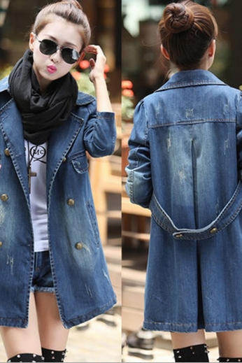 Women's self-cultivation big code cowboy coat girl
