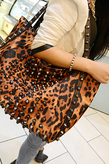 Fashion bag leopard nails fashionista portable shoulder cross package