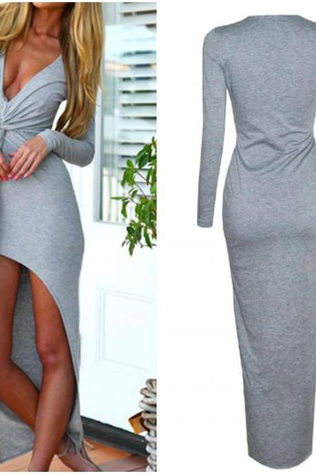 Sexy Deep V Neck Long Sleeve High Low Maxi Dress in Grey